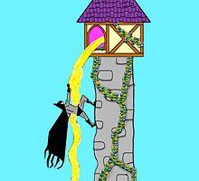 Batman and Rapunzel by zoturner