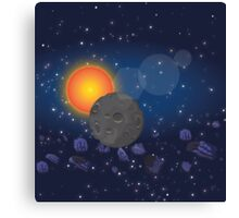 Solar System,Sun Moon Astroids Canvas Print