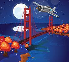 San Francisco Golden Gate Bridge Moonlit by Nick  Greenaway