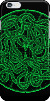 quozarrah green snake iPhone case by peter barreda