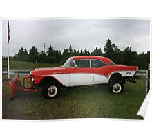57 chevy turned snow plow Poster
