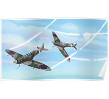 WW2 Vintage British fighter Aircraft Poster
