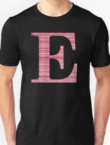 Letter E Red Watercolor Stripes Initial Monogram  Unisex T-Shirt