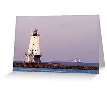 Ludington (Michigan) Light and Large Ship Greeting Card
