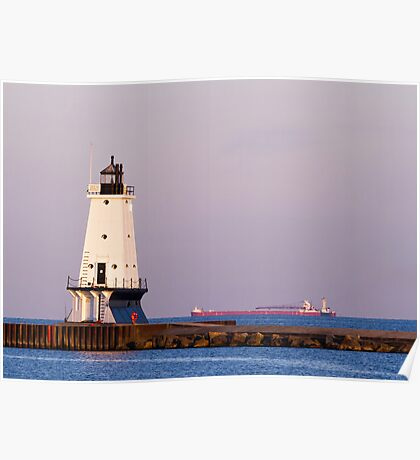 Ludington (Michigan) Light and Large Ship Poster