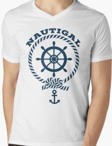 Nautigal Nautical T Shirt Mens V-Neck T-Shirt