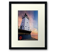 Sunset Sky with Ludington (Michigan) North Breakwater Light Framed Print