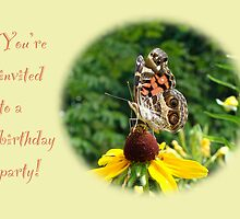 Invitation Birthday Party - American Lady Butterfly by MotherNature