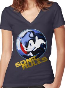 Sonic Rules Women's Fitted V-Neck T-Shirt