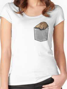 Sleeping puppy dog in a pocket Women's Fitted Scoop T-Shirt