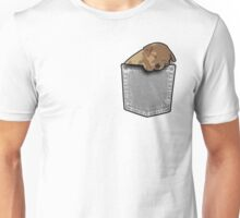 Sleeping puppy dog in a pocket Unisex T-Shirt