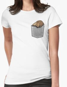 Sleeping puppy dog in a pocket Womens Fitted T-Shirt