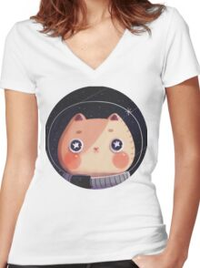 Cat Astro Women's Fitted V-Neck T-Shirt