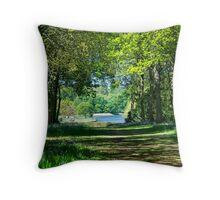 Dappled Bluebell Wood Throw Pillow