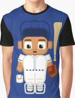 Baseball - White and Blue Graphic T-Shirt