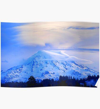 Lenticular Clouds Over Rainier Poster