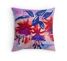 Revised, Fushia, the  dancing ballernias, watercolor Throw Pillow