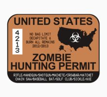 Zombie Hunting Permit 2012/2013 One Piece - Short Sleeve