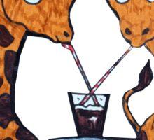 Cute Giraffe Friends Sharing a Coke Sticker