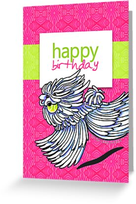 Puli / Komondor Kiwi Strawberry Birthday Card by offleashart