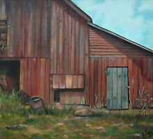 Red Barn Oil Painting by JamieTifft