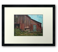 Red Barn Oil Painting Framed Print