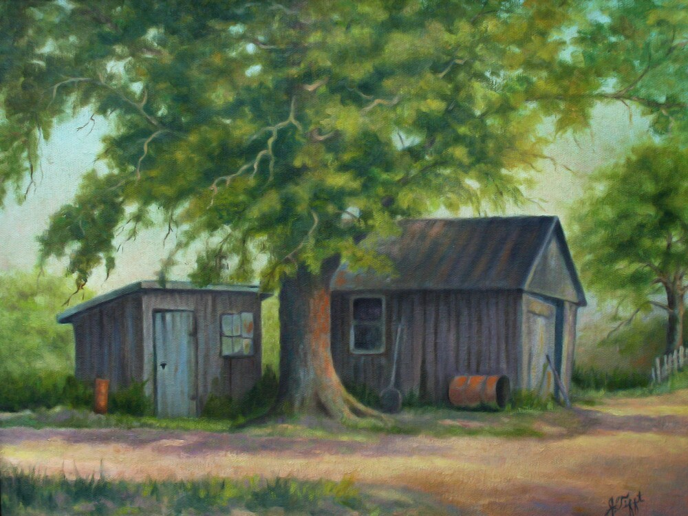 Country Shed Oil Painting by JamieTifft