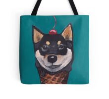 """Cherry on Pup"" Black Tan Shiba Inu Tote Bag"