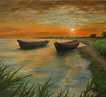 Boats on a Lake Painting by JamieTifft