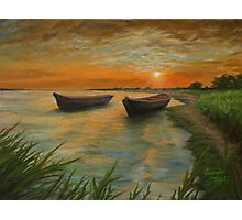 Boats on a Lake Painting Photographic Print