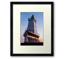 Ludington North Breakwater Light at Sundown Framed Print