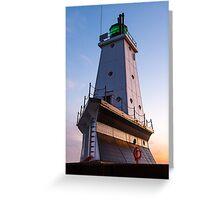 Ludington North Breakwater Light at Sundown Greeting Card