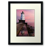 Sunset at Ludington North Breakwater Light, Michigan Framed Print