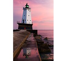 Sunset at Ludington North Breakwater Light, Michigan Photographic Print