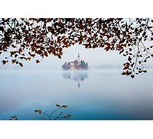 Autumn Mist over Lake Bled Photographic Print