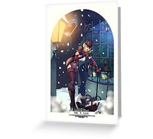 Sherlock Steampunk Christmas Illustration - She. R. Lock and the Adventure of the Blue Carbuncle Greeting Card