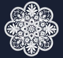 Victorian Ceiling Rose | Doily Pattern | Black and White Kids Tee