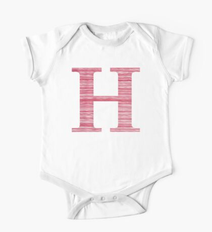 Letter H Red Watercolor Stripes Initial Monogram One Piece - Short Sleeve