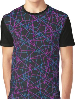 Abstract Geometric 3D Triangle Pattern in Blue / Pink - mini Graphic T-Shirt