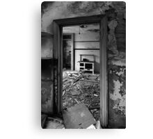 Interior B&W of derelict house.  Canvas Print
