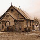 Corrugated Church in sepia by Liz Worth