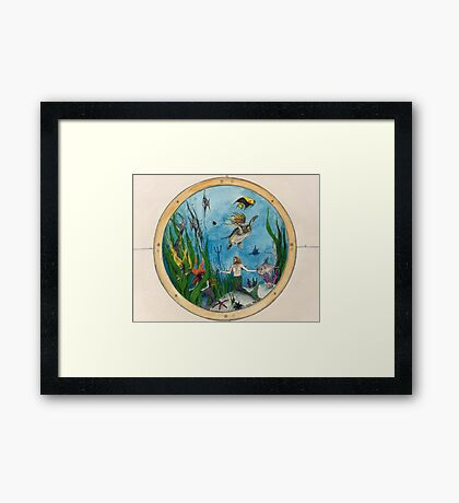 Mermaids Merman Porthole Dolphins Cathy Peek Framed Print