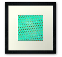 Cool and Trendy Pizza Pattern in Super Acid green / turquoise / blue Framed Print