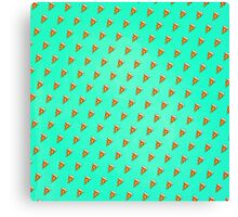 Cool and Trendy Pizza Pattern in Super Acid green / turquoise / blue Canvas Print