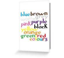 English colour words Greeting Card
