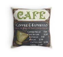 Elegant Cafe Chalkboard Throw Pillow