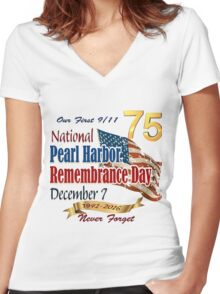 75th Anniversary of Pearl Harbor Women's Fitted V-Neck T-Shirt