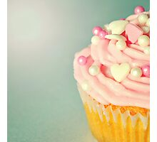 Pink Cupcakes with Lovehearts Photographic Print