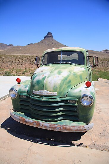Route 66 - Old Green Chevy by Frank Romeo