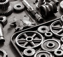 Cogs and Gears Black and White Photograph by gtcdesign